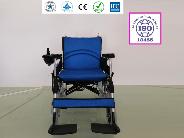Foldable Electric Powered Wheelchair MP-680 Blue Cushion