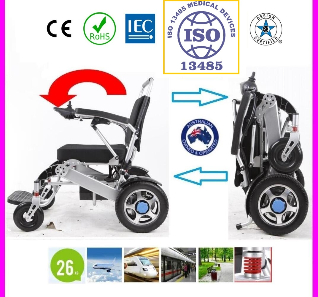 Foldable Electric Powered Wheelchair, Light Weight - MP530 SILVER