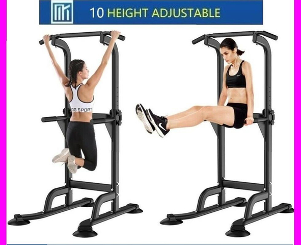 ]10-HEIGHT* PULL UP CHIN UP DIPS KNEE RAISE RACK GYM HOME WORKOUT
